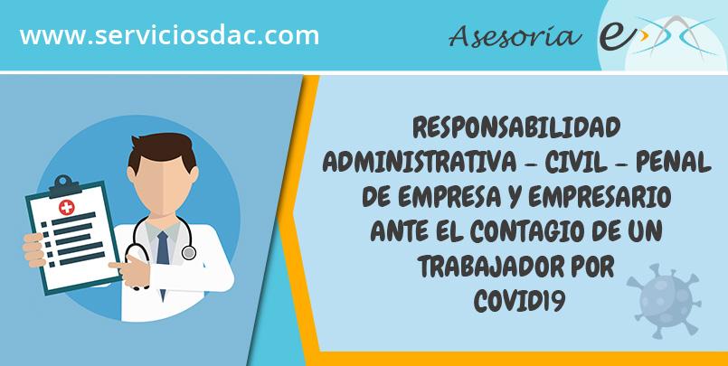 Responsabilidad Administrativa - Civil - Penal de empresa y empresario ante el contagio de un trabajador por Covid19